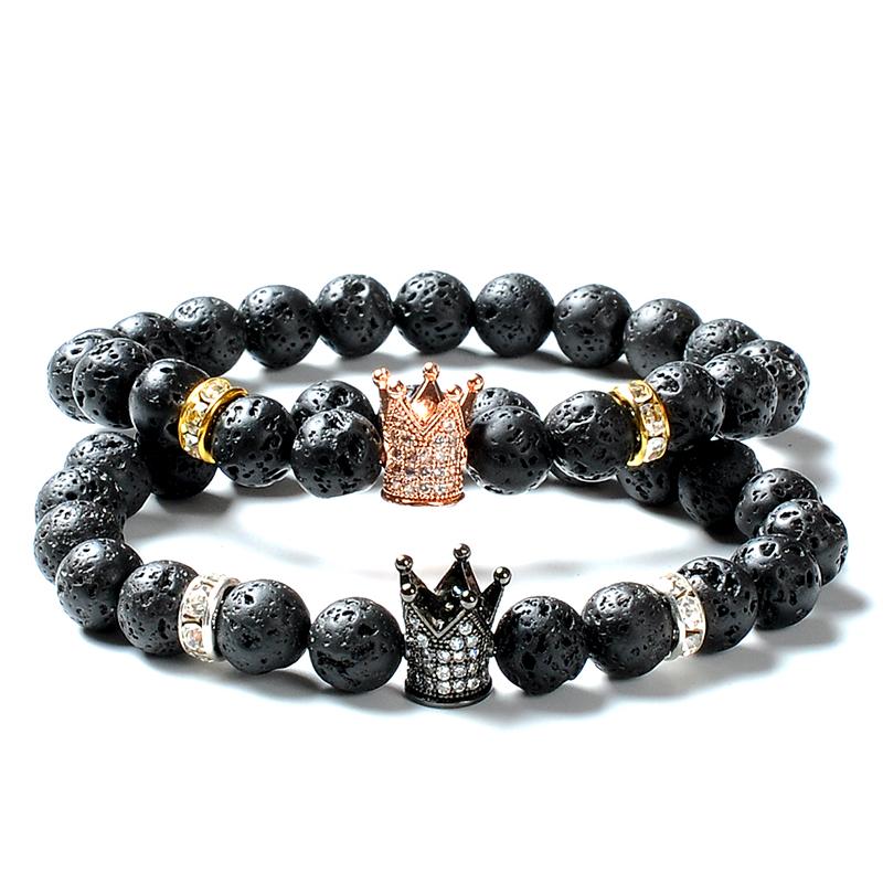 F118 2 Pcs Quarzo Rosa di lava Vulcanica pietra di San Valentino Fatti A Mano Giada Braccialetto corona della ragazza del ragazzo amicizia regali mans paio braccialetto