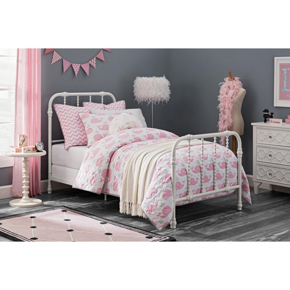 e606682820e1 Get Quotations · DHP Jenny Lind Metal Bed Frame in White with Elegant  Scroll Headboard and Footboard
