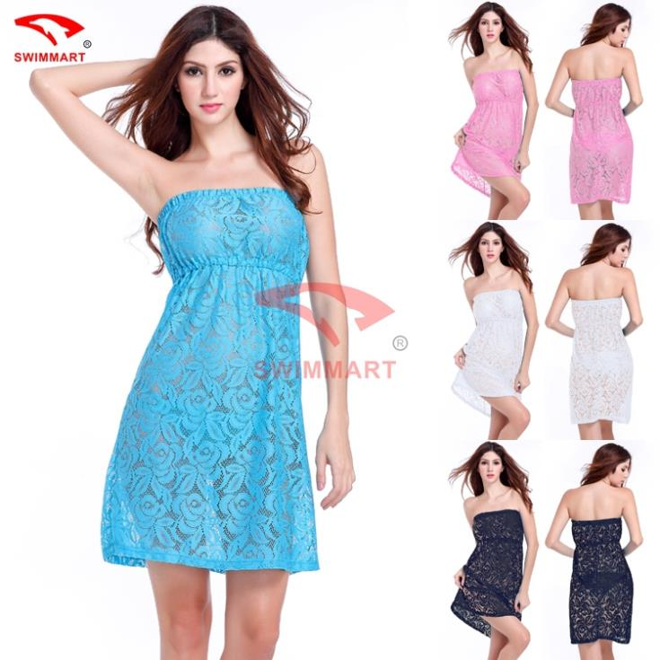 2015 Strapless Big For Women Plus size XXL Transparent Sexy Casual Lace dress 4 Colors