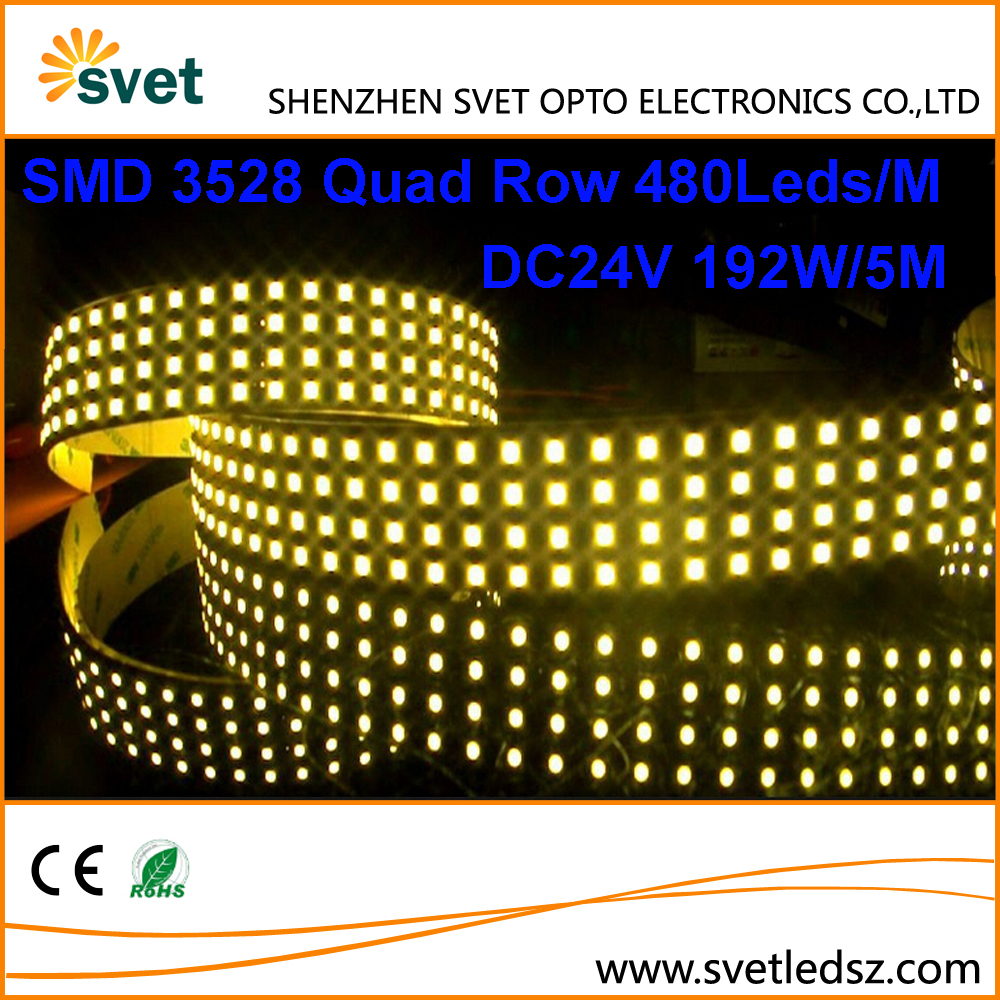 High Lumen Ultra Bright DC24V SMD 3528 480 Leds Quad Row Led Strip for Backlighting 38.4W per Meter 5M 192W 28mm PCB