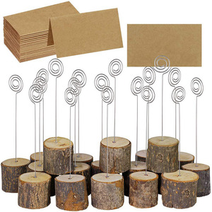 10PCS Wooden Place Card Holders Rustic Iron Wire Clip Holder Stand Holders Paper Note Clip for  Party Wedding Table Stand