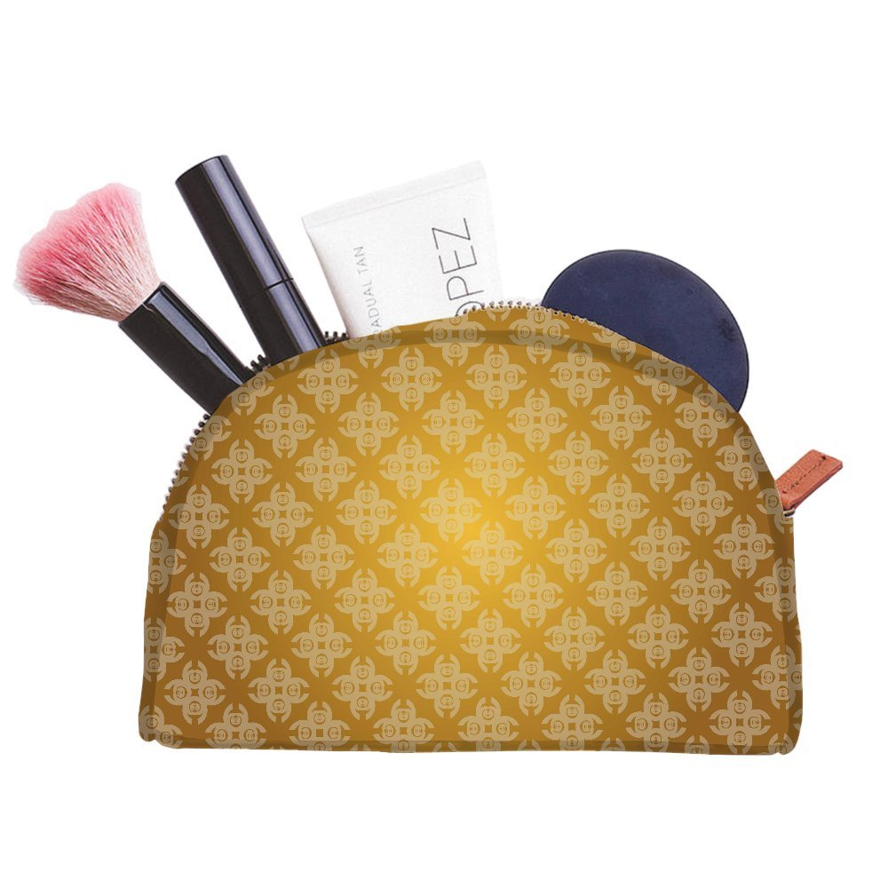 Snoogg Abstract Grey Yellow Pattern Designer Multifunctional Canvas Pen Bag Pencil Case Makeup Tool Bag Storage Pouch Purse