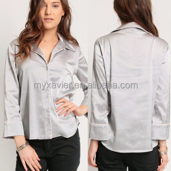 688ea5be Wholesale Latest Silver Satin Shirt With Chest Pocket Three-quarter Sleeve  Casual Women Shirt - Buy Cheap Shirt,Women Shirt,Wholesale Shirt Product on  ...