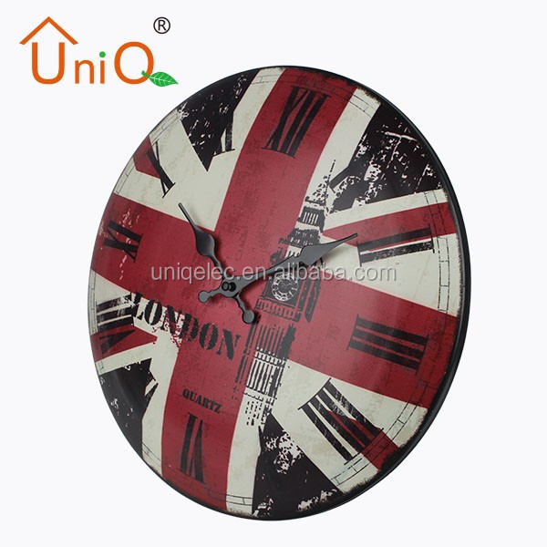 "M1420 14"" antique round metal wall clock made in China"