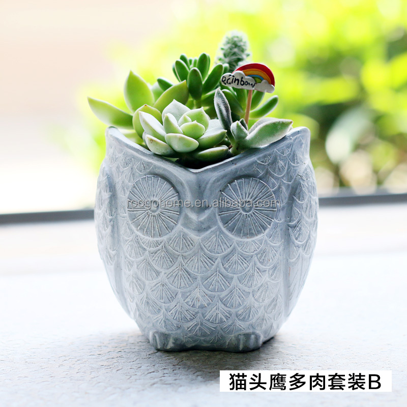 Roogo home 2017 garden decor hot sale cheap price resin flower owl planter pot
