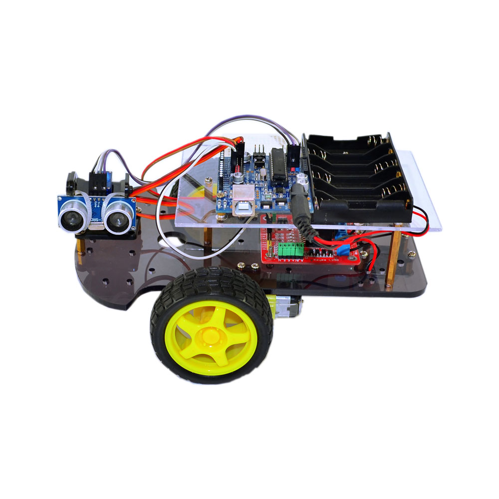 Electronic Educational Project 2WD Smart Car HC-SR04 Remote Ultrasonic Ranging DIY Rc Car kit For Kids