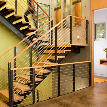 New Arrival Wire Railing Timber Steps Build Floating Staircase