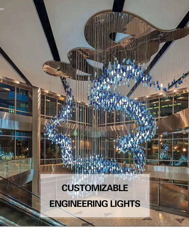 G-Luzes Personalizado Grande hotel de luxo grande Cristal pendurado lustre projeto