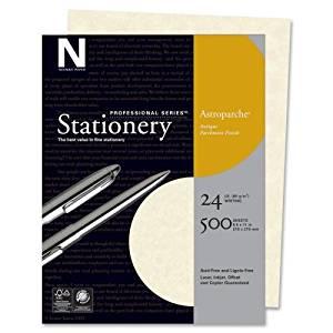 Wholesale CASE of 10 - Wausau Astroparche Parchement Finish Paper-Parchment Finish Paper, 24 lb., Letter Size, 500/BX, Natural