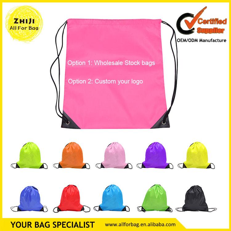 Wholesale No minimum small cheap nylon drawstring backpack bulk ...