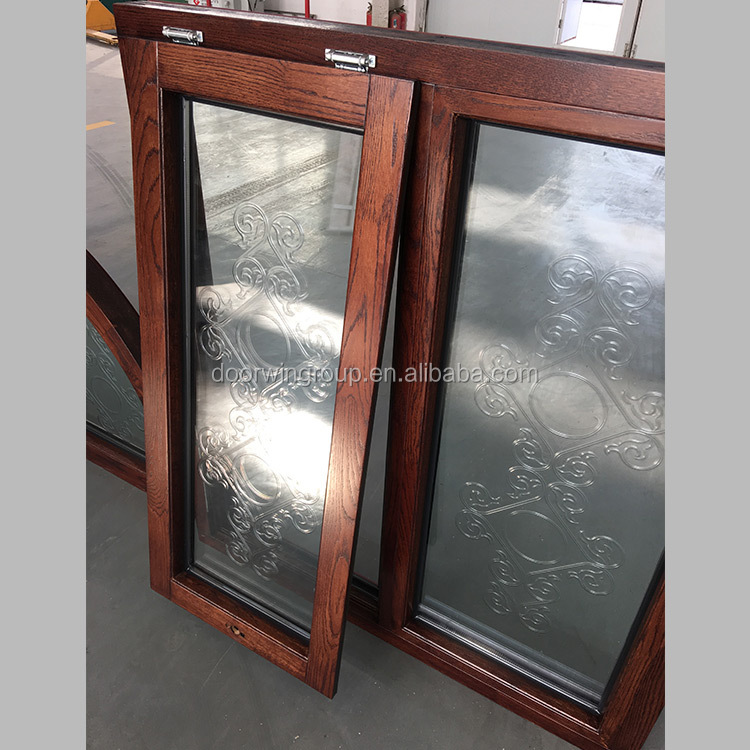 Dome Oak Teak Cherry Wood Top Hung Casement Window With Carved Glass