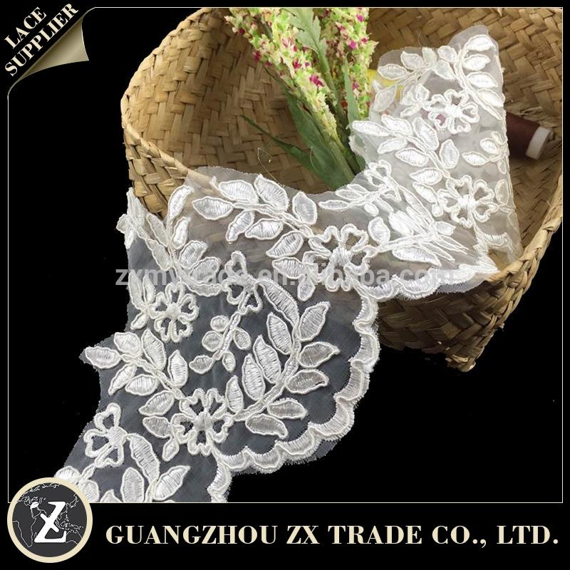 Cheap Bridal Lace Fabric Scarf Velvet Lace Fabric Applique Collar Lace