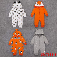New fashion monster style front zipper baby clothing design romper hooded autumn