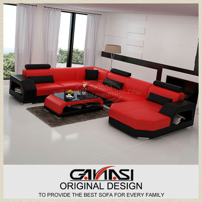 Ganasi Red Leather Sectional Sofa
