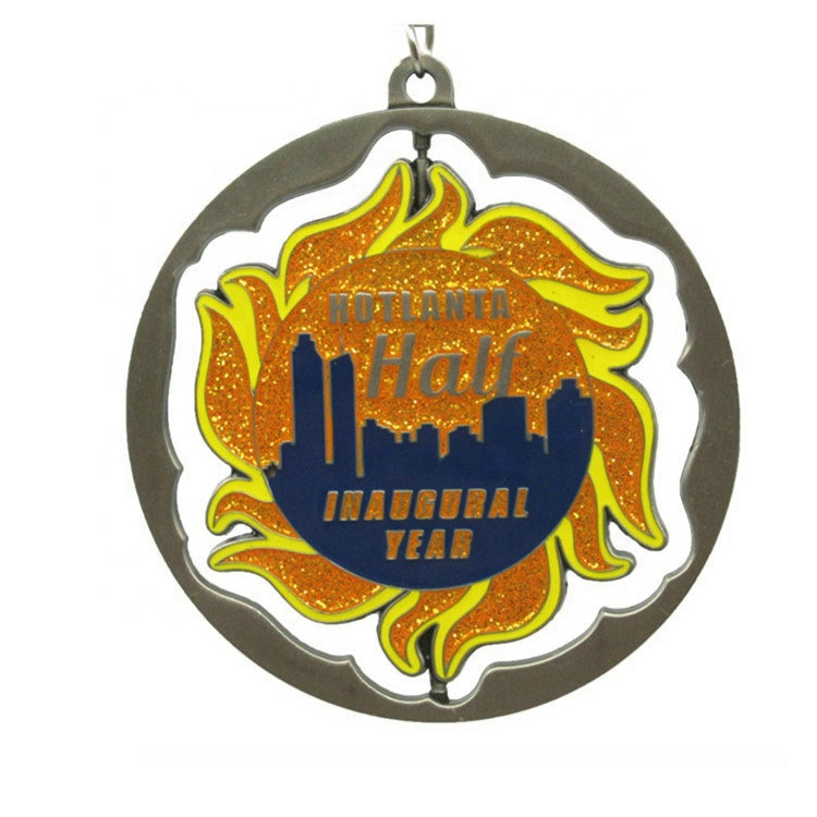 custom cheap 3d vintage hollow zinc alloy silver copper running triathlon finsher sport souvenir ribbon medal