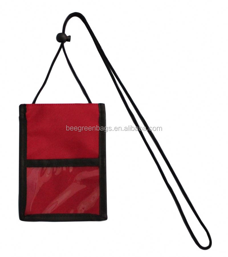 BeeGreen Promo Polyester PVC&Clear PVC plastic passport neck wallet With Adjustable Neck Cord