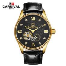 Карнавальный военный автоматический турбийон, популярные механические Брендовые мужские часы, полностью стальные часы с кожаным ремешком,...(Китай)