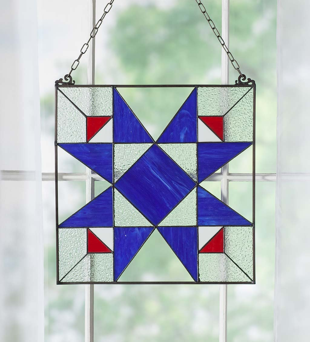 Plow & Hearth Patriotic Americana Folk Art Star Hanging Stained Glass Panel for Window, Indoor Use Only, 15'' sq.