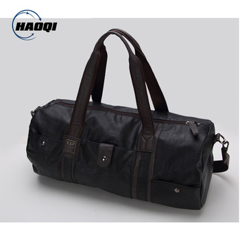 Leather weekend duffle bag sports gym travel bag for men pu