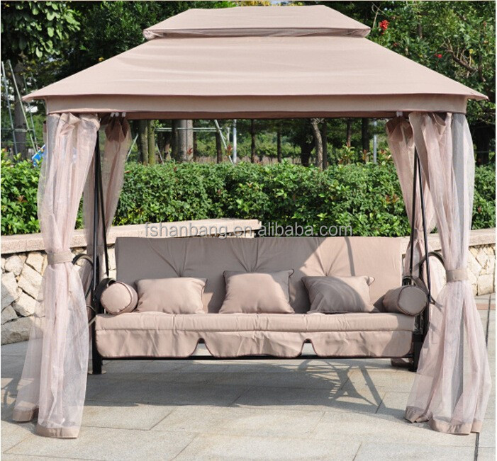 Luxury Two Function Three Seat Outdoor Gazebo Swing Chair