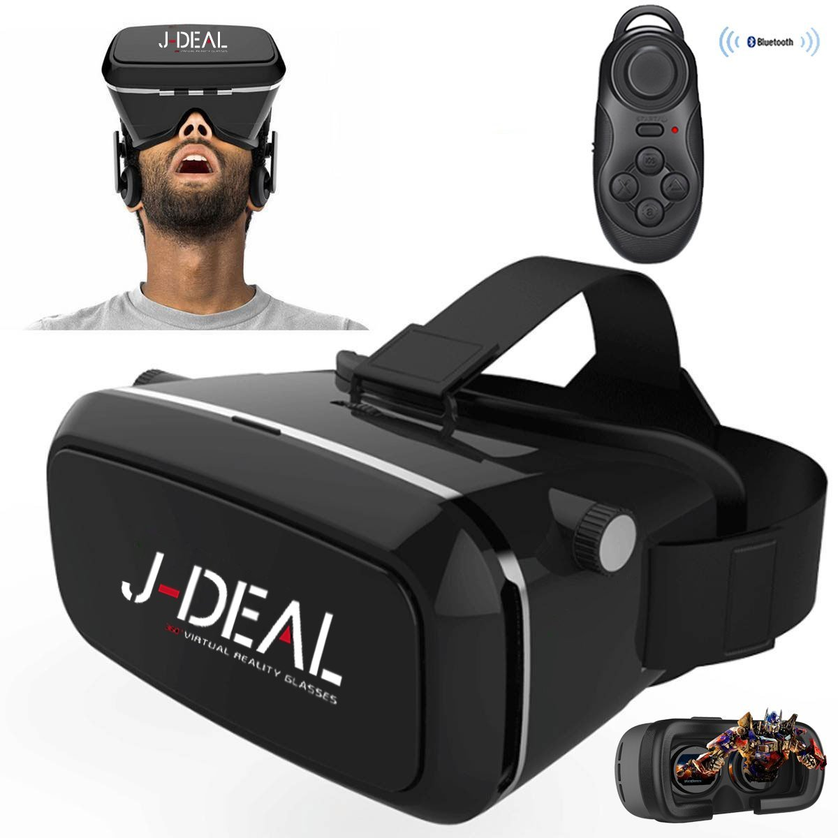 J-DEAL 360° Viewing Immersive Virtual Reality 3D VR Glasses Google Cardboard 3D Video Games Glasses VR Headset Box Compatible with 3.5-6.0 inches Android & Apple Smartphones + Controller