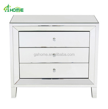 Amia Pure Clear Mirrored 3 Drawers Bedroom Furniture Bedside Table
