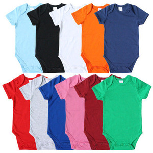 Summer Most comfortable Cotton Baby Clothes Fashionable plain Blank White Short Sleeves Romper