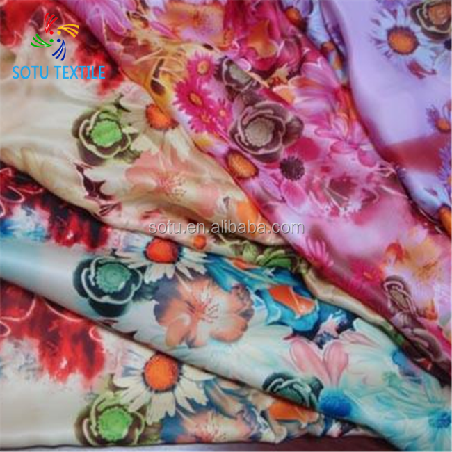 polyester spandex digital print chiffon <strong>fabric</strong> for lady's fashion clothes