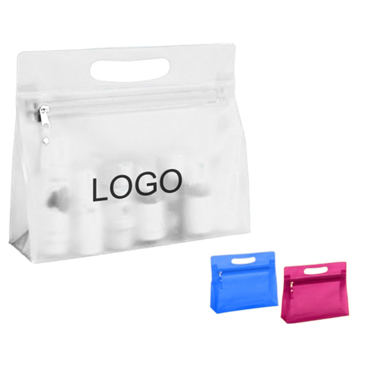 Clear Translucent PVC Plastic Zippered Cosmetic Toiletry Bag