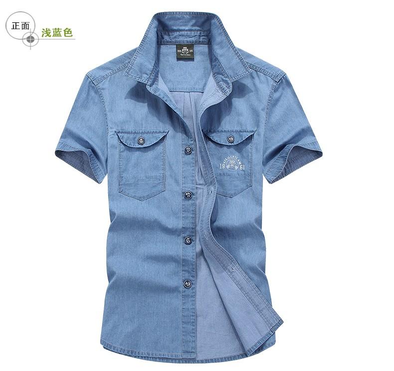 e6a8df5bc9f 2019 Wholesale Afsjeep Man Thin Cotton Denim Shirt With Short ...