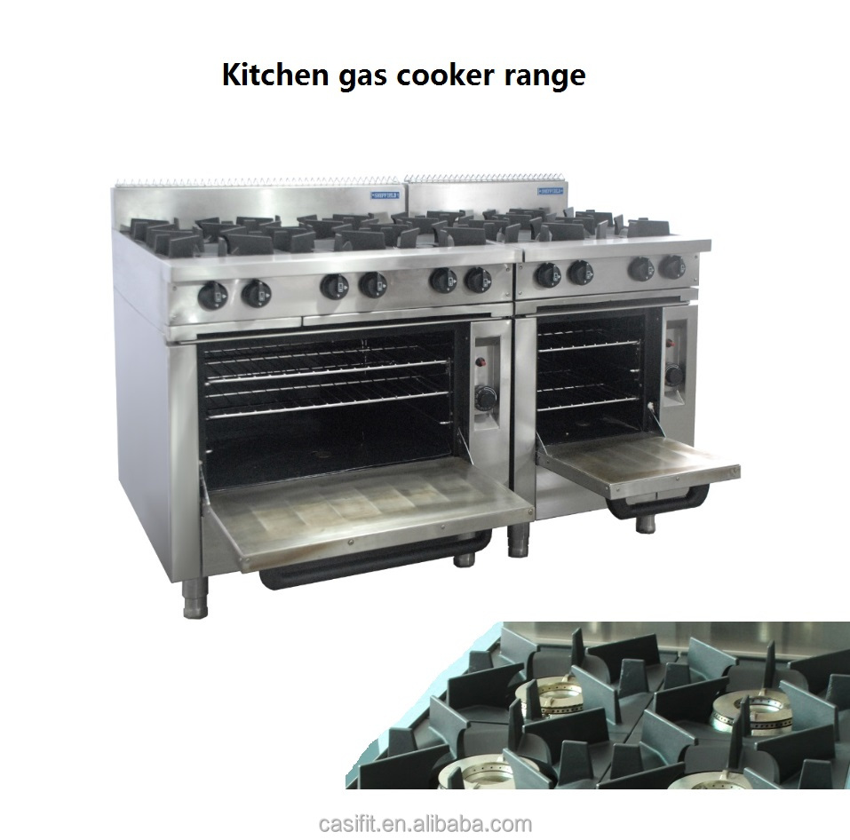 CE Certification Commercial Gas cooking range 4 Burners Heavy Duty Stainless Steel Gas Cooker with oven