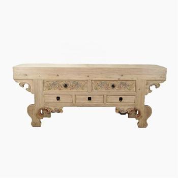 living room 5- drawer Chinese antique carving console table reclaimed wood furniture