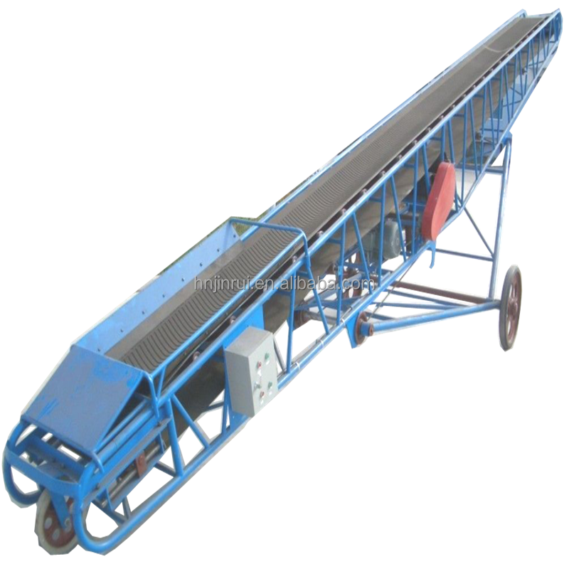 Mobile stacker conveyor for loading and unloading block material,bags