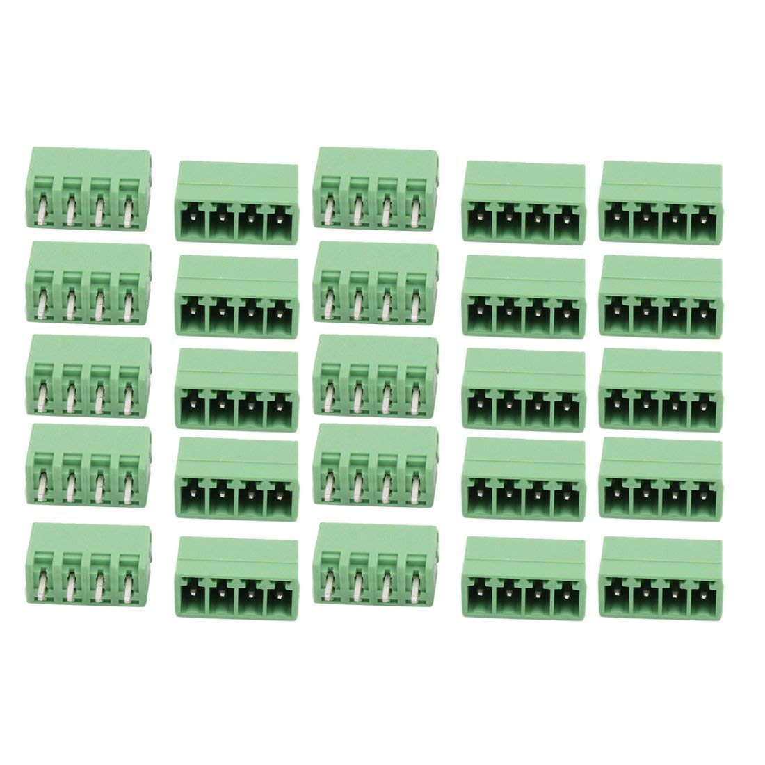 uxcell 25Pcs AC300V 8A 3.81mm Pitch 4P Terminal Block Wire Connection for PCB Mounting
