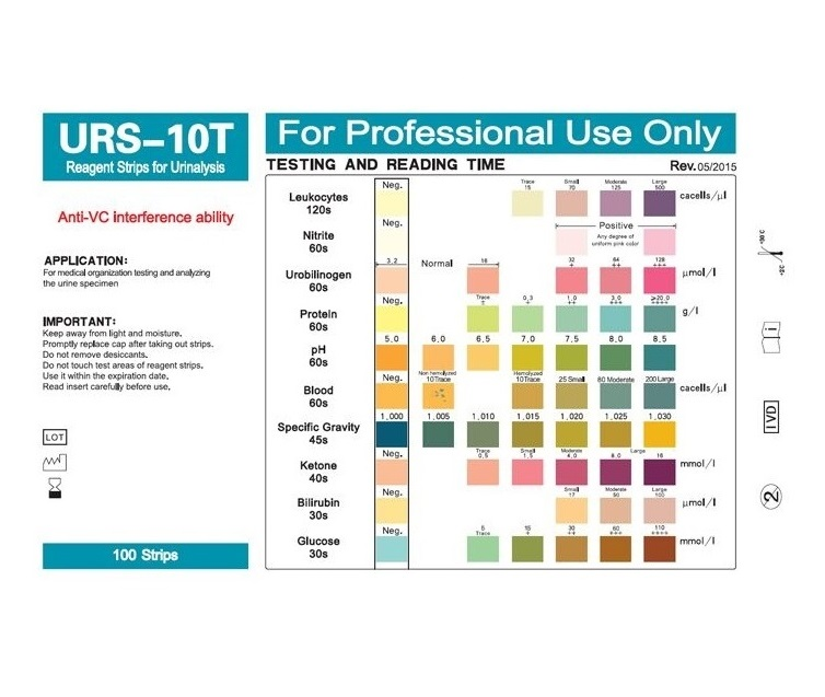 URS-10T Urinalysis Reagent Test Paper 10 Parameters Urine Test Strips