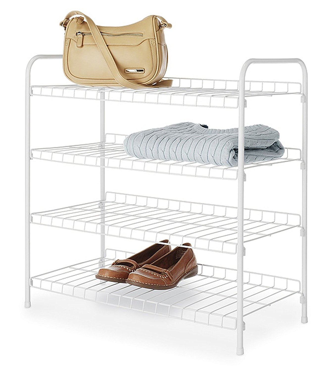 Get Quotations · 4 Tiered Shelving Unit Closet Organization Shoe Rack White  Wire Shelves