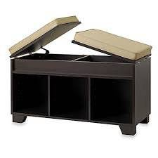 Get Quotations · Comfortable Fabric Cushioned Top Two Hidden Storage  Compartment 3 Cube Split Top Bench Storage