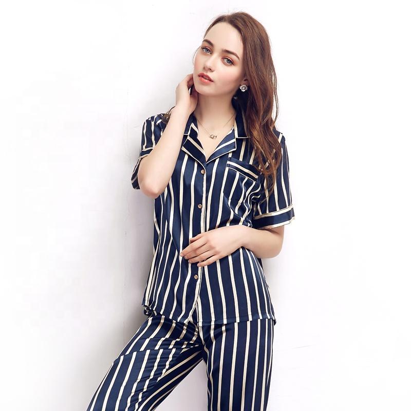 Online shopping usa striped silky satin pajamas sleepwear pj set , pijamas woman summer фото
