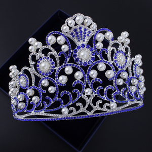 2018 New design luxurious bride hair accessories wedding large head crown with pearl