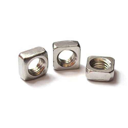 Square Nut Stainless Steel M3 M4 M5 M6 Square Nuts,Pack of 100 Pieces (M4, pitch 0.7mm)