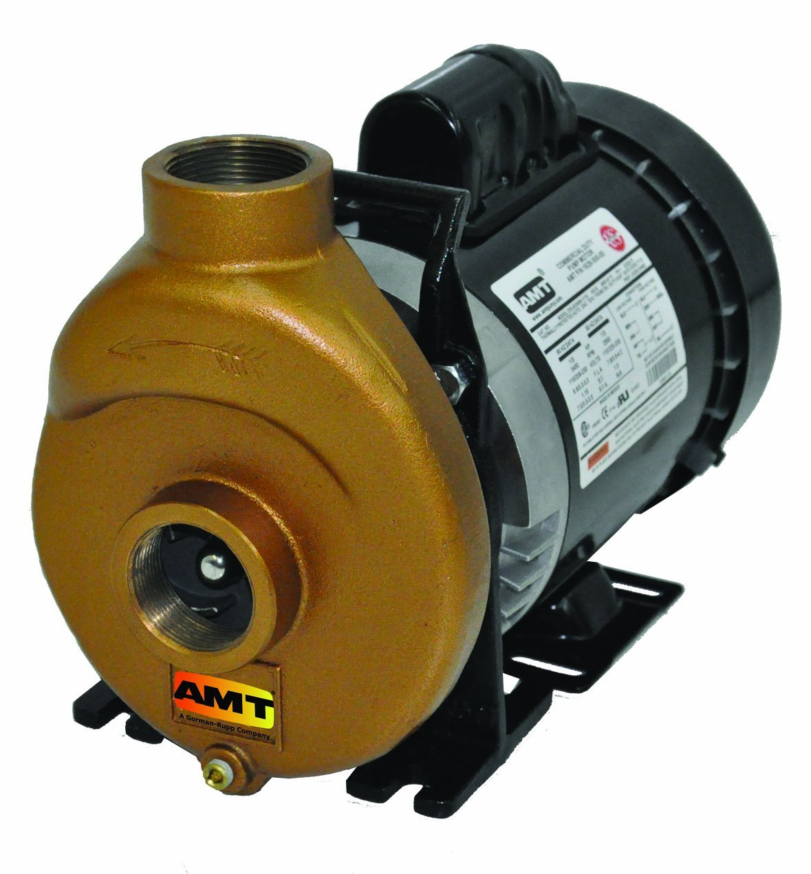 "AMT 388J-97 1.5"" Bronze Self-Priming Inline Centrifugal Pump, Buna-N/SS Seal, 1-1/2hp TEFC Motor"