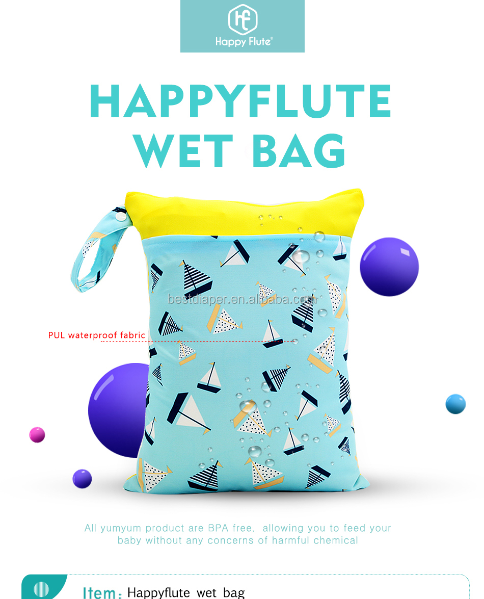 HappyFlute Cheap Reusable Waterproof Infant Wet Diaper Bag