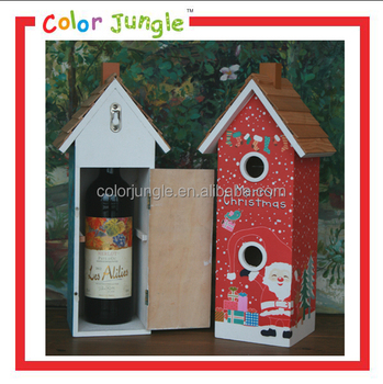 Decorative Wood Wine Box Painted Bird House Unique Gift for Xmas