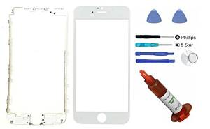 """(md0410) iphone 6 4.7"""" WHITE front outer glass lens screen replacement + Mid Bezel Frame + Tools + 5ml UV LOCA Liquid Adhesive Glue (LCD & Digitizer not included)"""
