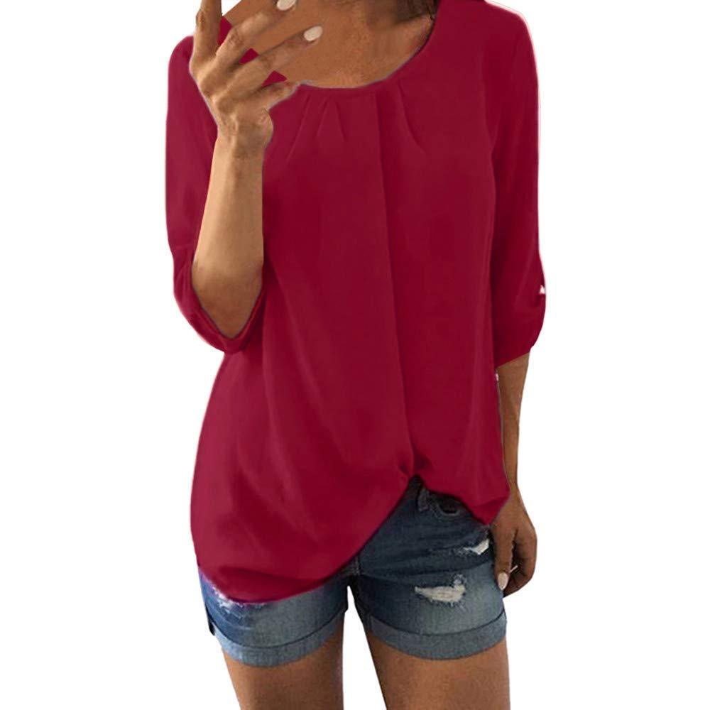 Women Tops Clearance Sale! Women's Shirt Plus Size Casual Chiffon Tunic O Neck 3/4 Sleeve Blouse