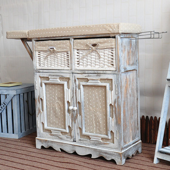 Shabby White Wooden Ironing Boards With Storage Cabinet