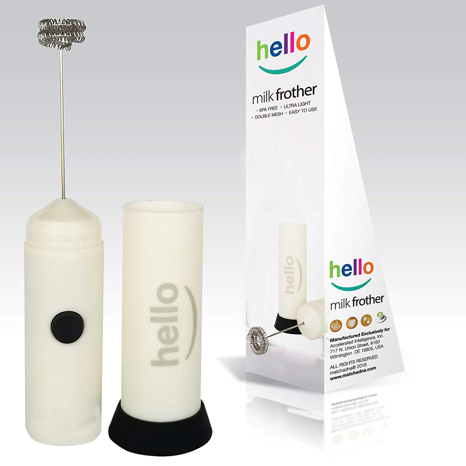 MatchaDNA Handheld Electric Milk Frother (Hello - White)