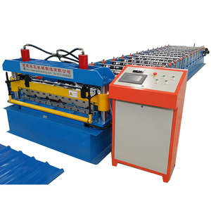 Automatic colored steel high rib roof panel glazed tile roll forming machine