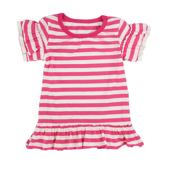 children frocks designs short sleeves ruffle party dress red and white shirts Top t-shirts with ruffles