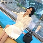 ASM ANNA new style summer over knee length clothing cotton shirt women blouse white tops